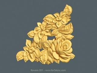 FLOWERS 001 | STL – 3D model for CNC