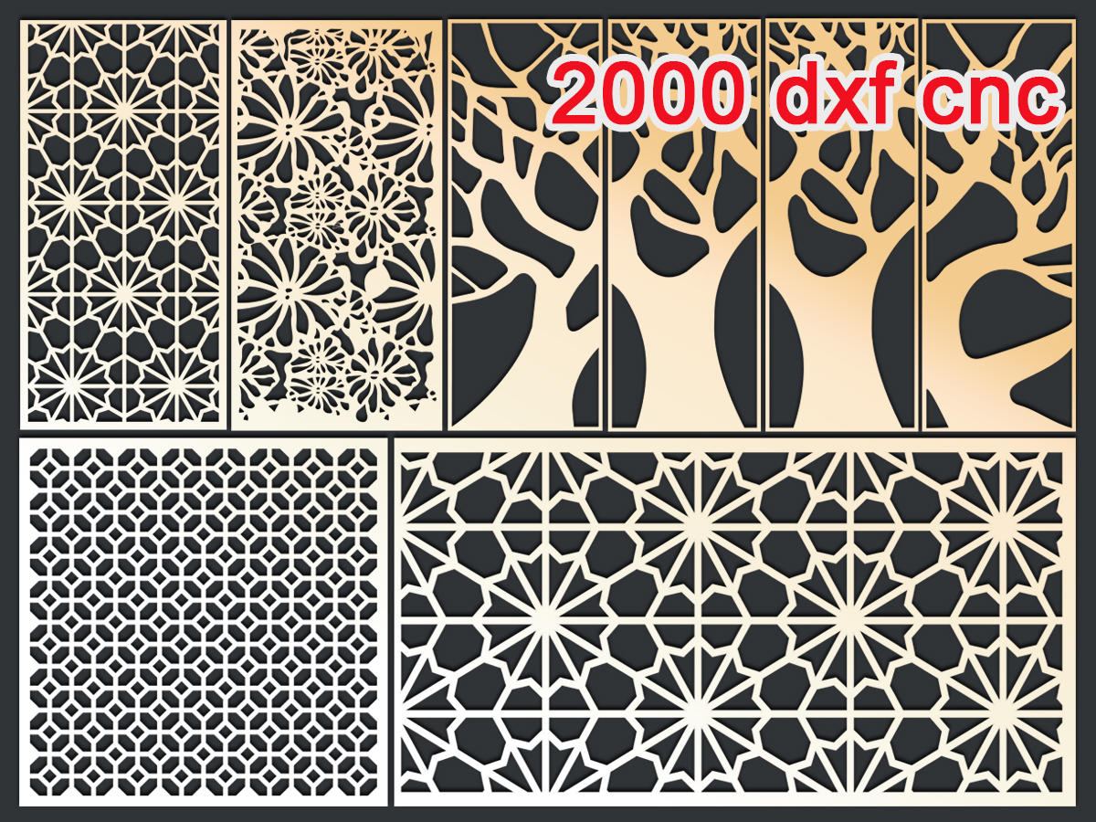 2000 CNC Vector DXF   2D for CNC   3D STL MODEL FOR CNC