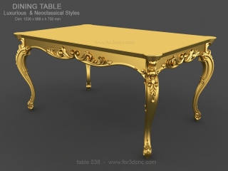TABLE 038 | STL – 3D model for CNC
